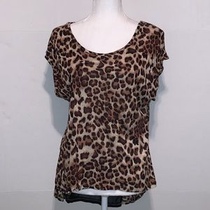 Annabelle Tops - Annabelle leopard blouse with sheer back